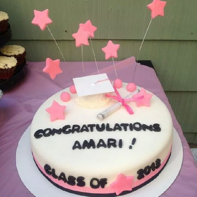 Pink And White Graduation Cake