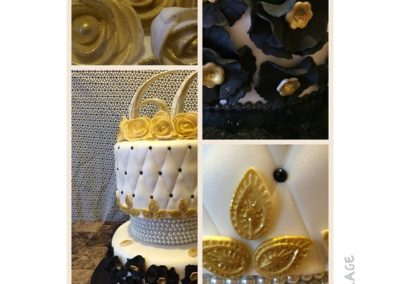 Black,Gold And White Cake
