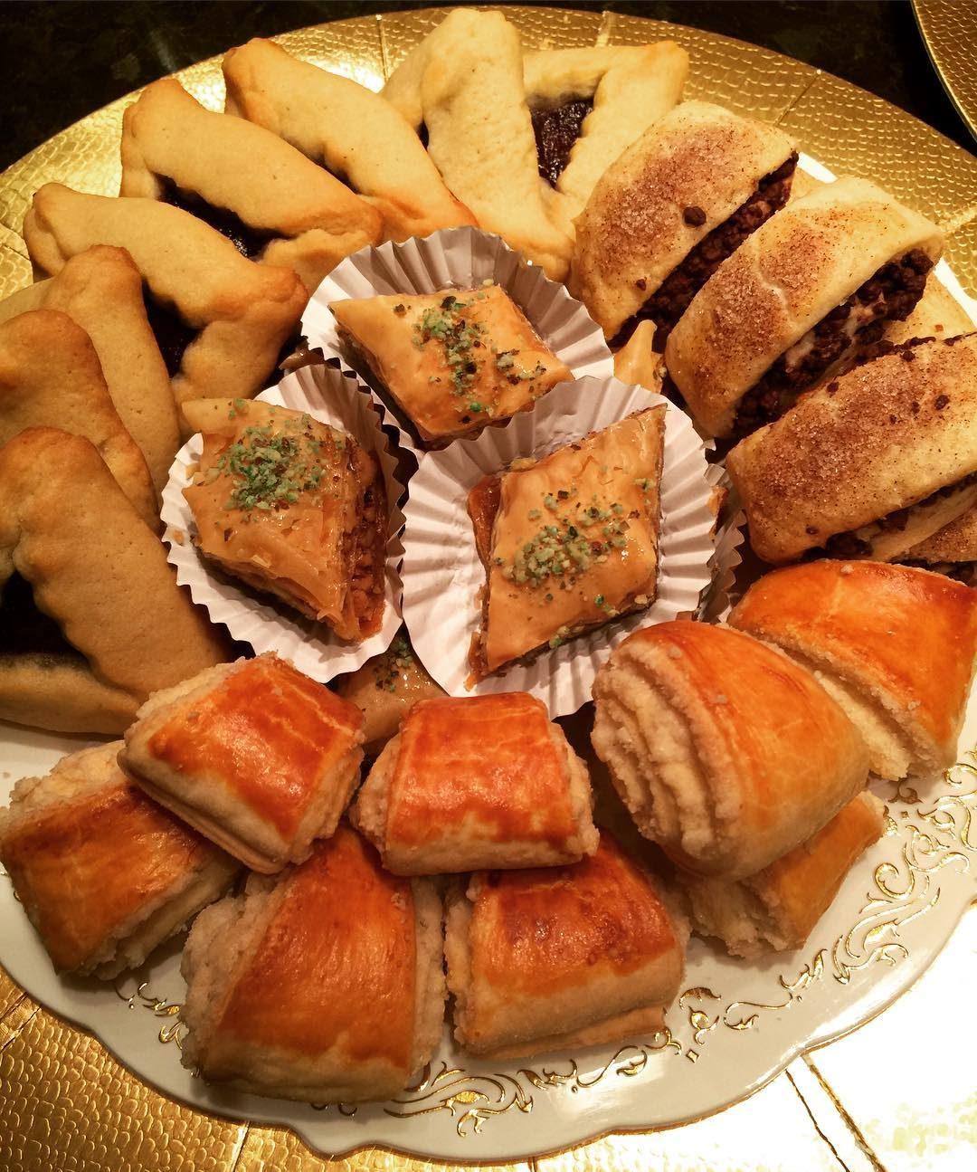 Nazoog,Hamentashen,Chocolate Rugelach and Baklava