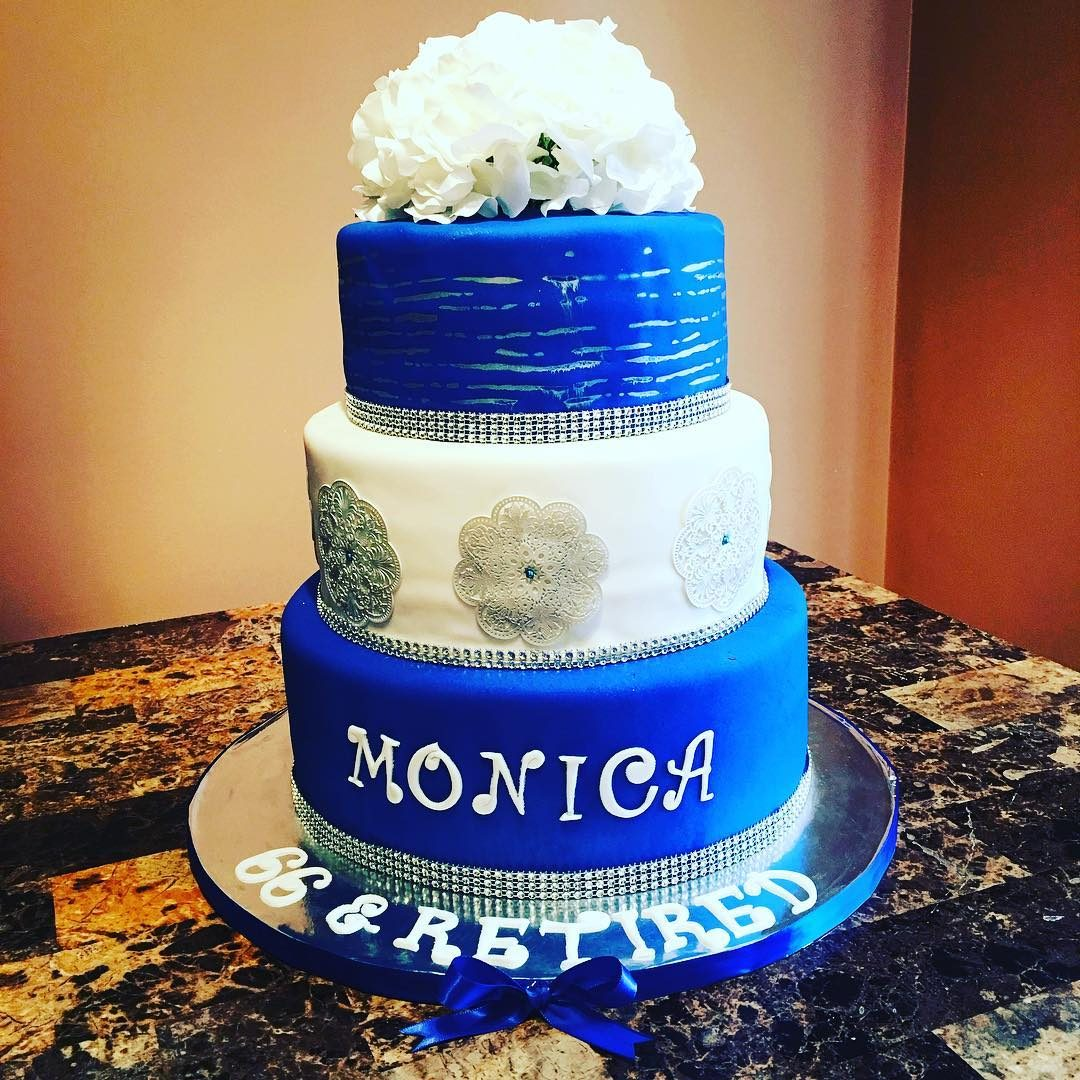 Tiered Blue And White Cake