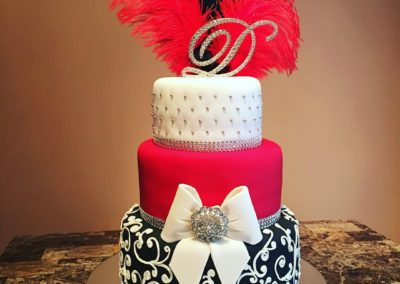 Red Black And Feather Cake