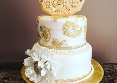 Gold And White Engagement Cake