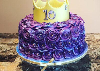 Purple Princess Rosette Cake