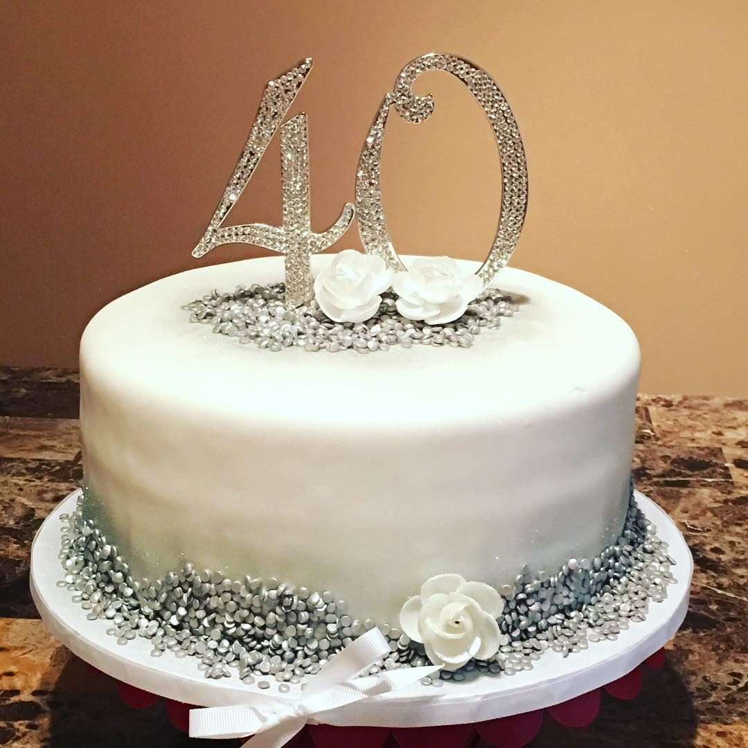 Silver And White Birthday Cake